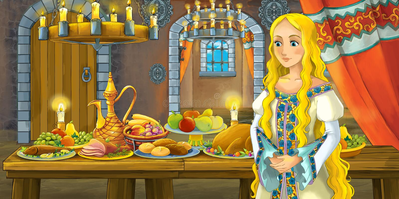 Kreskówki bajka z princess w kasztelu stołem pełno karmowy uśmiechnięty i przyglądający royalty ilustracja