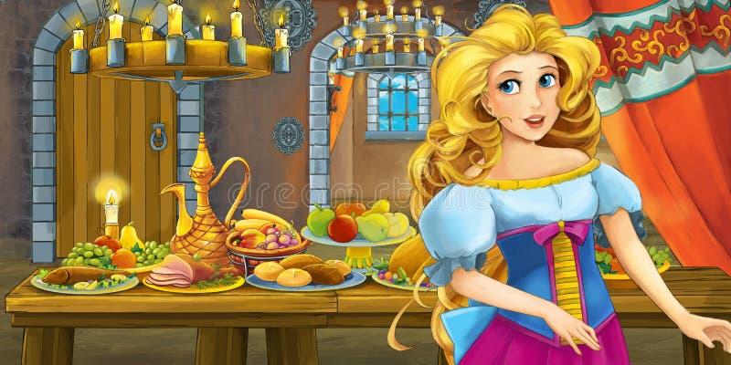 Kreskówki bajka z princess w kasztelu stołem pełno karmowy uśmiechnięty i przyglądający ilustracji