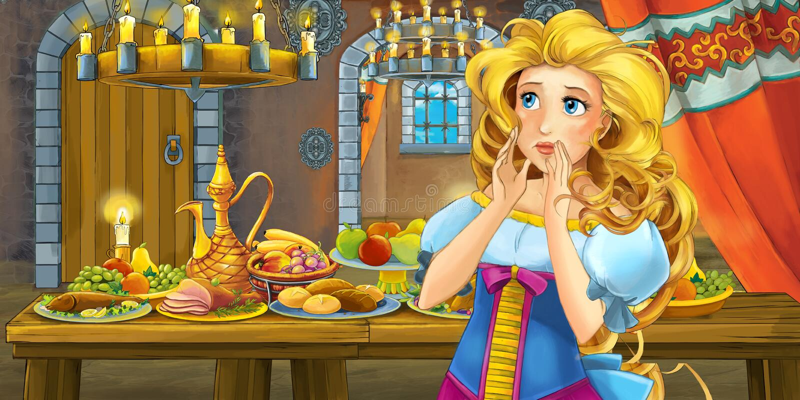 Kreskówki bajka z princess w kasztelu stołem pełno karmowy uśmiechnięty i przyglądający ilustracja wektor