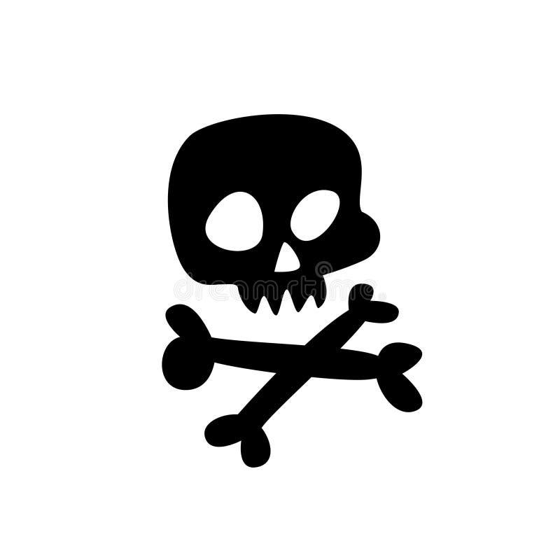 Kreskówki czaszka wektor Płaska ikona stylizowana ludzka czaszka Wielki znak jolly Roger Symbol dla logo royalty ilustracja