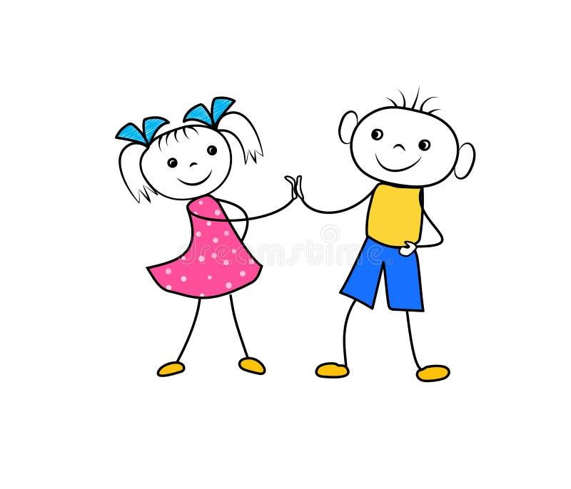 Kreskówki dziewczyny i chłopiec mienia ręki i uradowany być przyjaciele Pomyślna biznesu kontrakta negocjacja ilustracja wektor