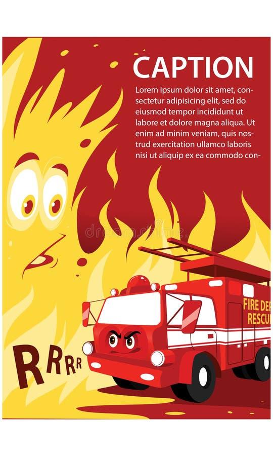Kreskówki firetruck wektoru życzliwa śliczna uśmiechnięta czerwona ilustracja ilustracja wektor