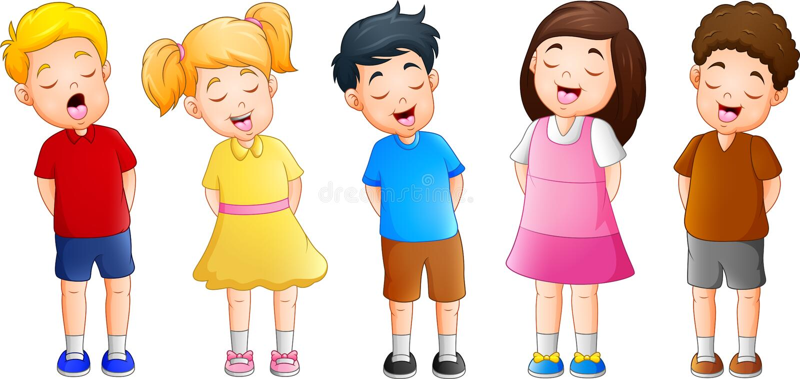 Kreskówki grupa dzieci śpiewa wpólnie ilustracji