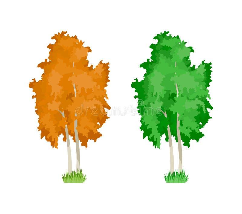 kreskówki kolorowy ilustracyjny drzew wektor Śliczne odrewniałe rośliny, zieleń, żółtej brzozy drzewa royalty ilustracja