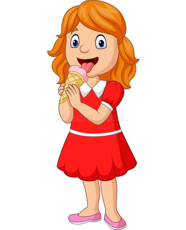 Kreskówki mała dziewczynka je lody ilustracji