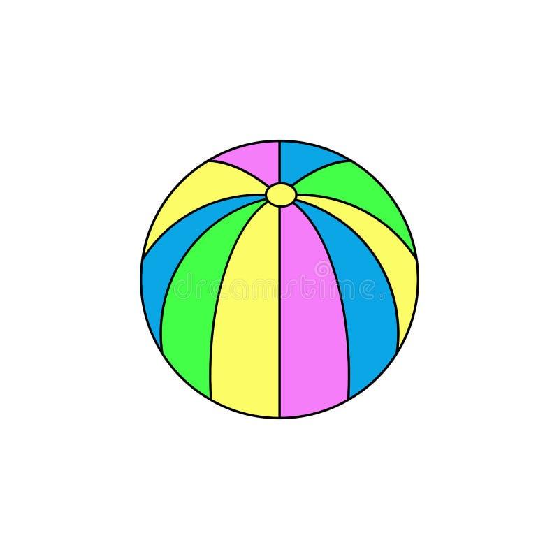 Kreskówki plażowej piłki zabawki barwiona ikona Znaki i symbole mogą używać dla sieci, logo, mobilny app, UI, UX ilustracja wektor