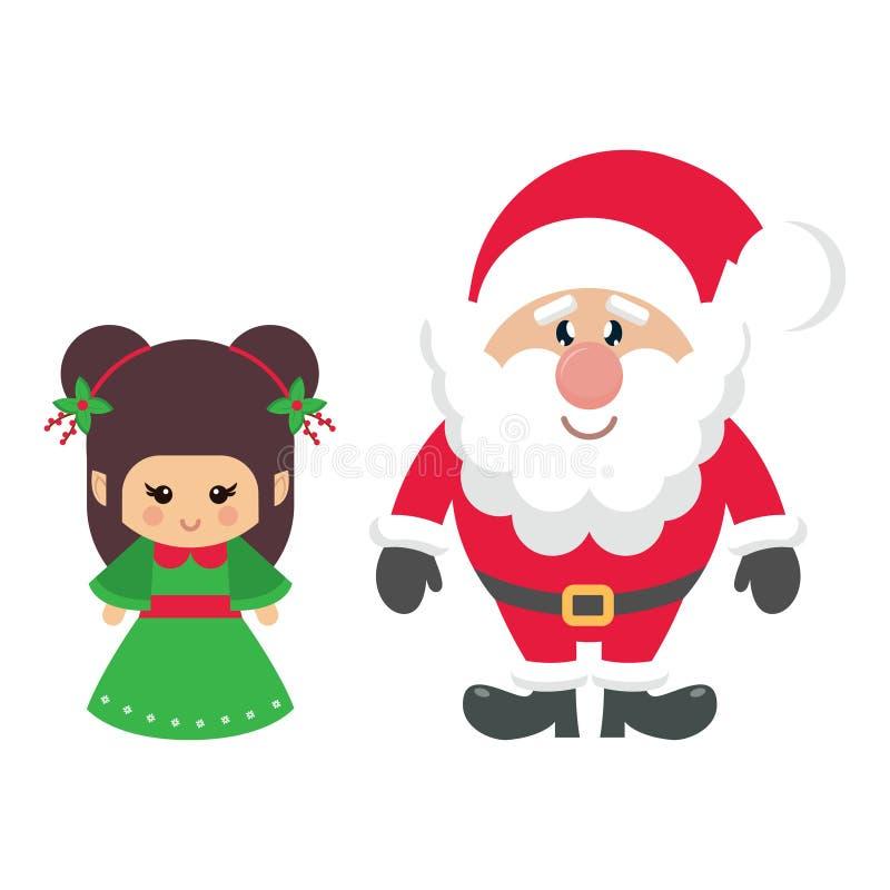 Kreskówek śliczni boże narodzenia elf Claus i Santa ilustracja wektor