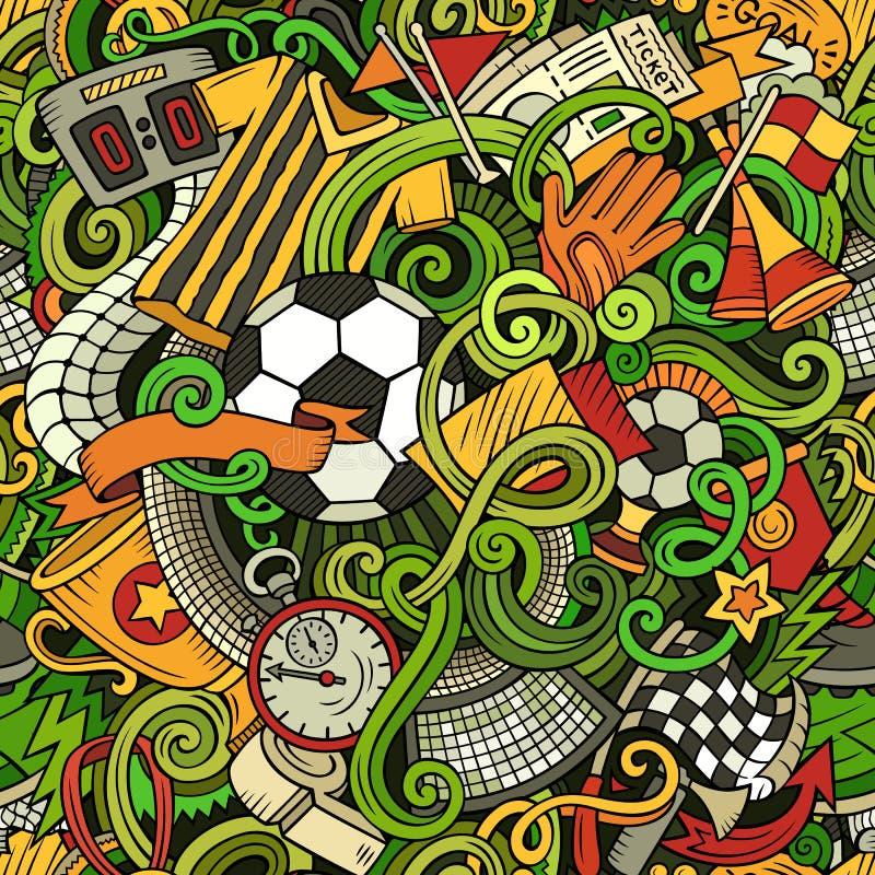 Kreskówek śliczni doodles wręczają patroszonej piłce nożnej bezszwowego wzór royalty ilustracja