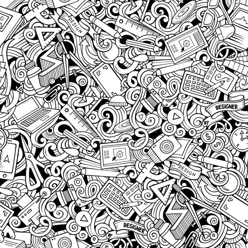 Kreskówek śliczni doodles wręczają patroszonemu projektantowi bezszwowego wzór royalty ilustracja