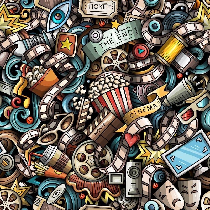 Kreskówek ślicznych doodles Kinowy bezszwowy wzór royalty ilustracja
