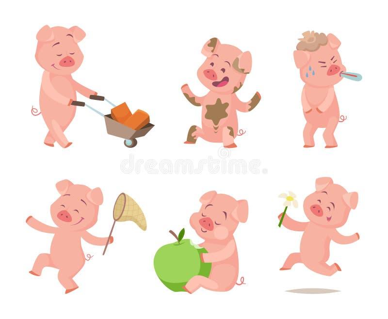 Kreskówek śmieszne świnie w akcj pozach ilustracji