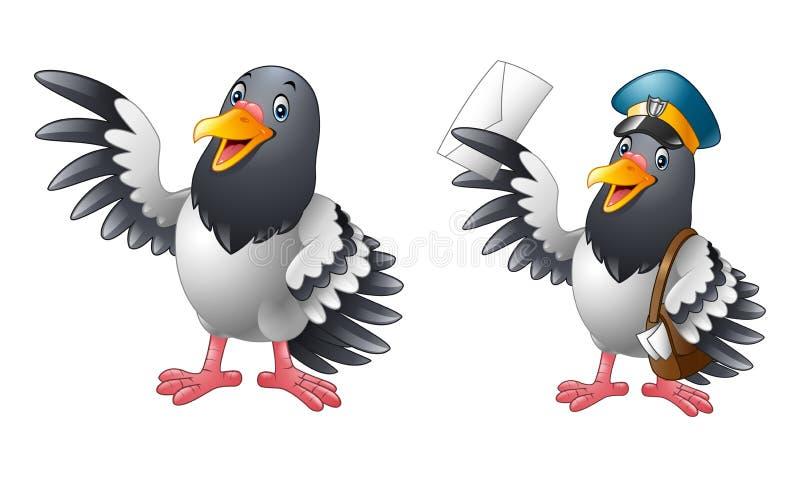 Kreskówek śmieszne Gołębie ptasie kolekcje ilustracja wektor