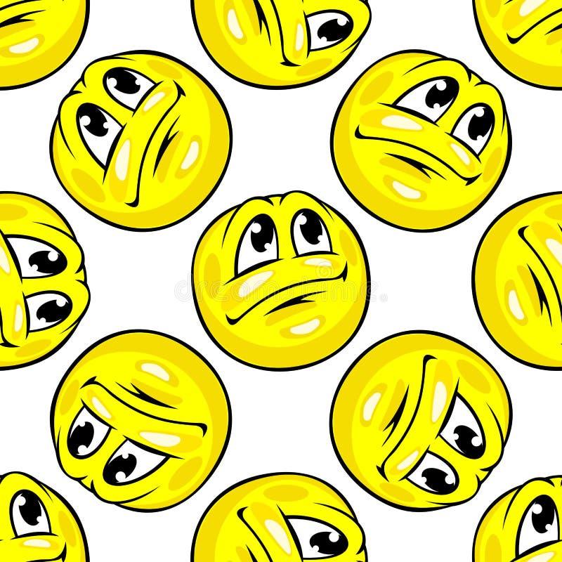 Kreskówek żółtych emoticons bezszwowy wzór royalty ilustracja