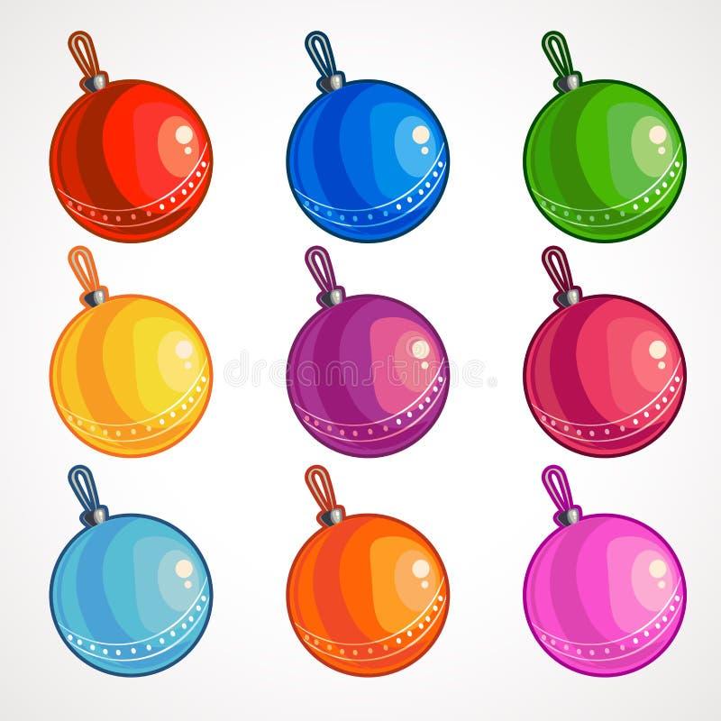 Kreskówek barwione piłki dla choinki również zwrócić corel ilustracji wektora ilustracji