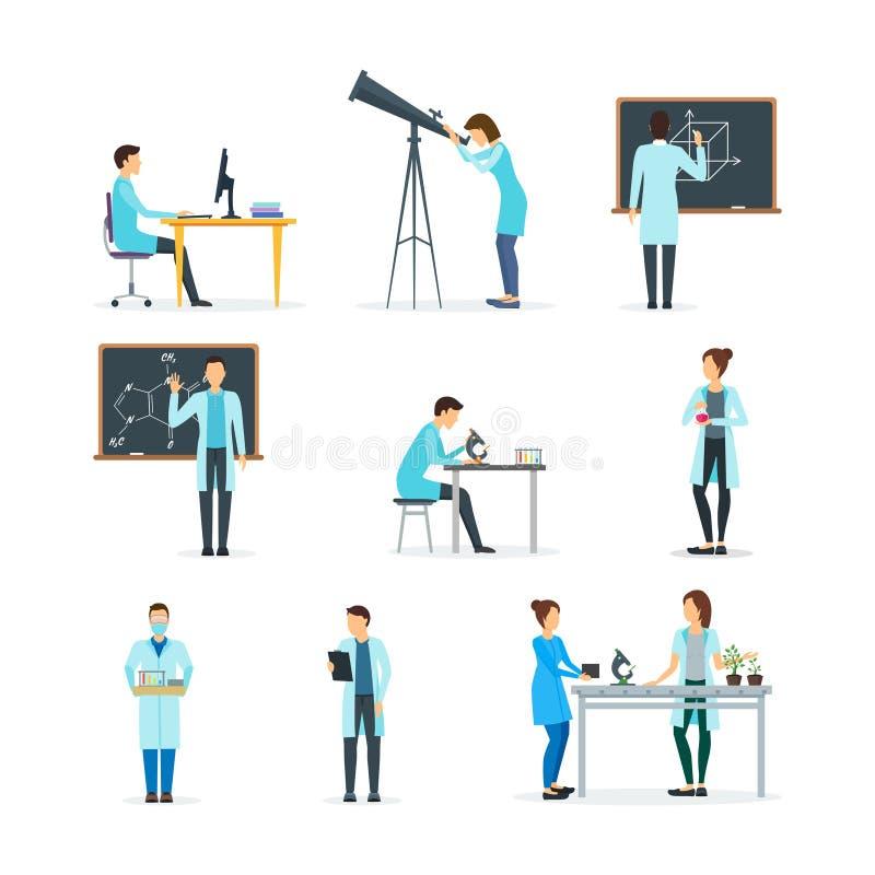 Kreskówek biolożki, chemicy i fizycy Ustawiający, wektor royalty ilustracja