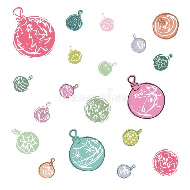 Kreskówek bożych narodzeń piłki barwione dekoracje ilustracja wektor