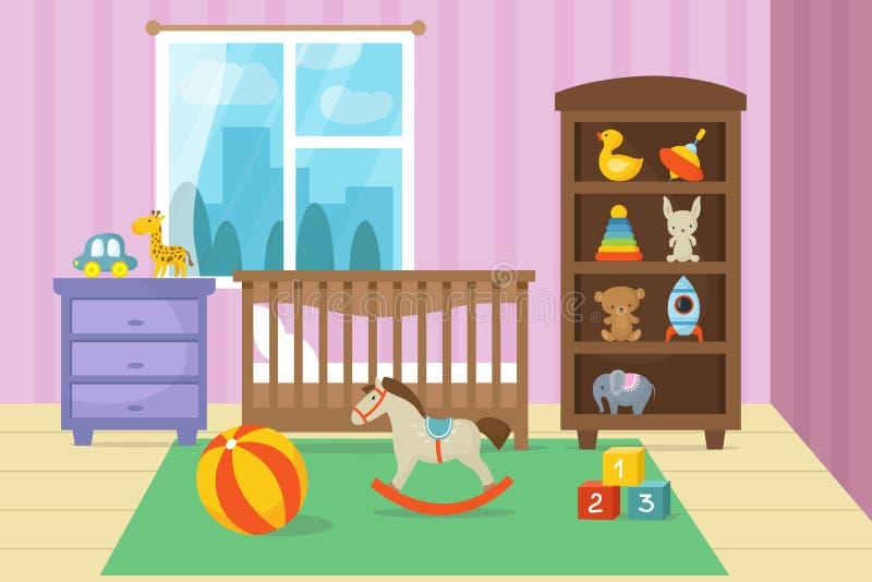 Kreskówek children pokoju wnętrze z dzieciakiem bawi się wektorową ilustrację royalty ilustracja