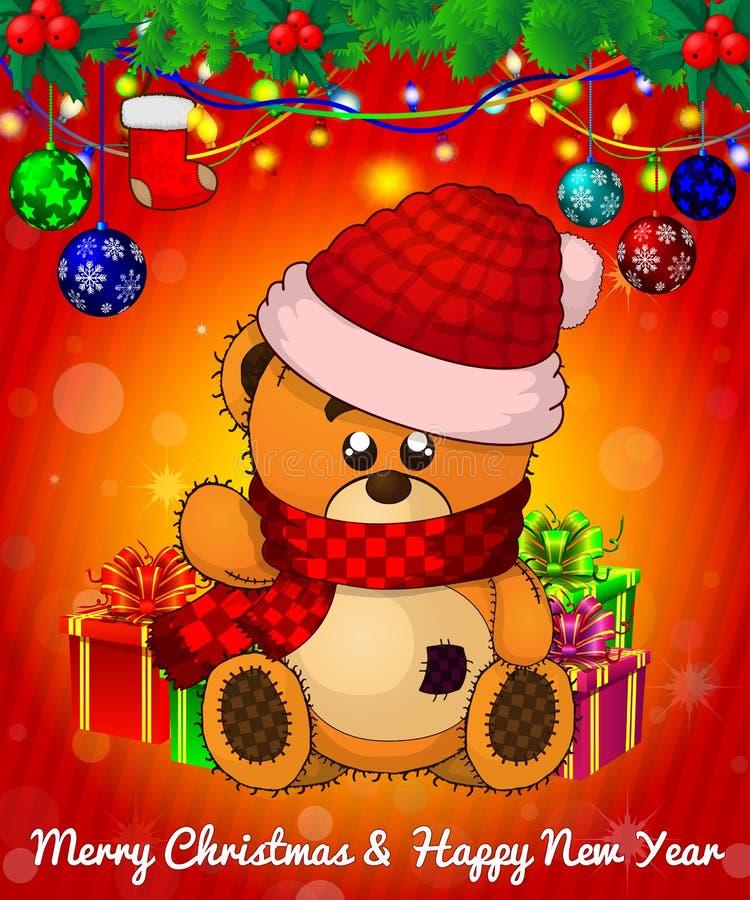 Kreskówek cristmas miś z prezentów pudełkami na czerwonym tle ilustracja wektor
