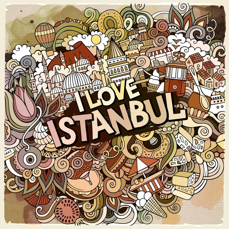 Kreskówek doodles śliczna ręka rysująca Kocham Istanbuł inskrypcję royalty ilustracja