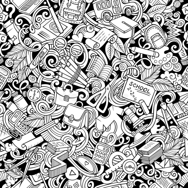 Kreskówek doodles śliczna ręka rysujący Szkolny bezszwowy wzór ilustracja wektor