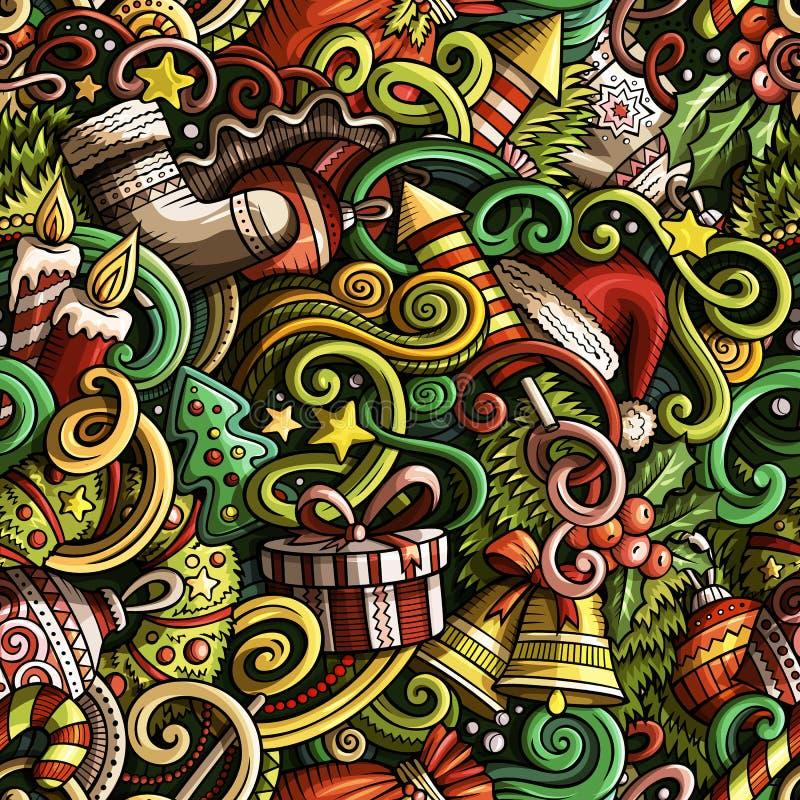 Kreskówek doodles ślicznego nowego roku bezszwowy wzór ilustracja wektor