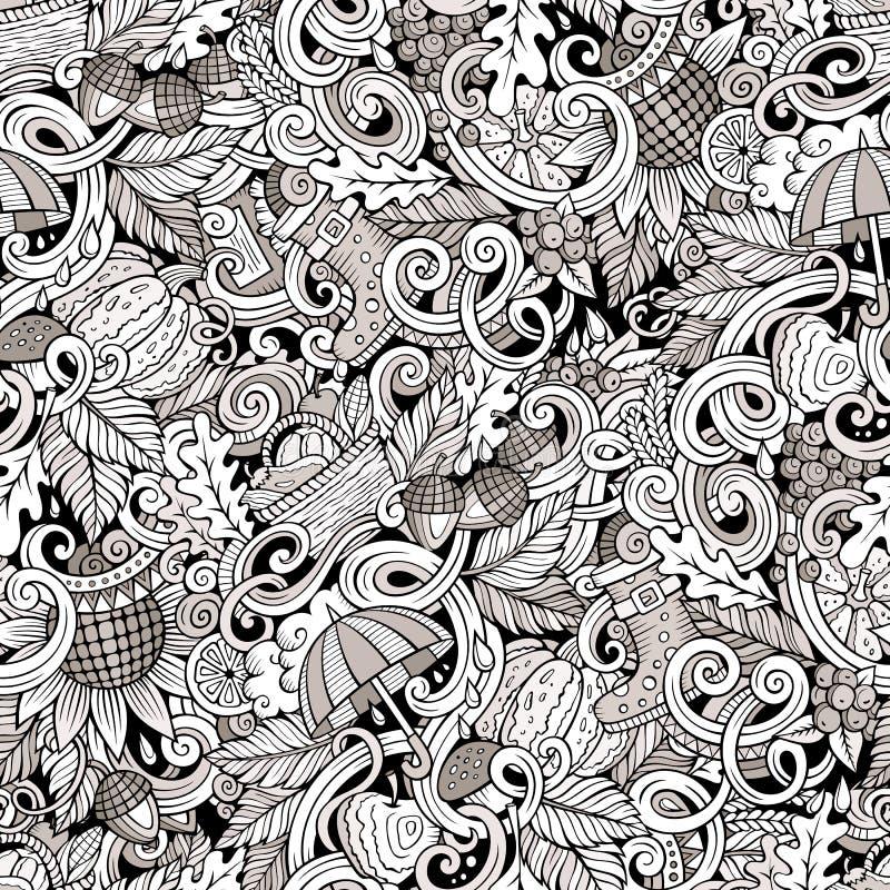 Kreskówek doodles ślicznej jesieni bezszwowy wzór ilustracja wektor