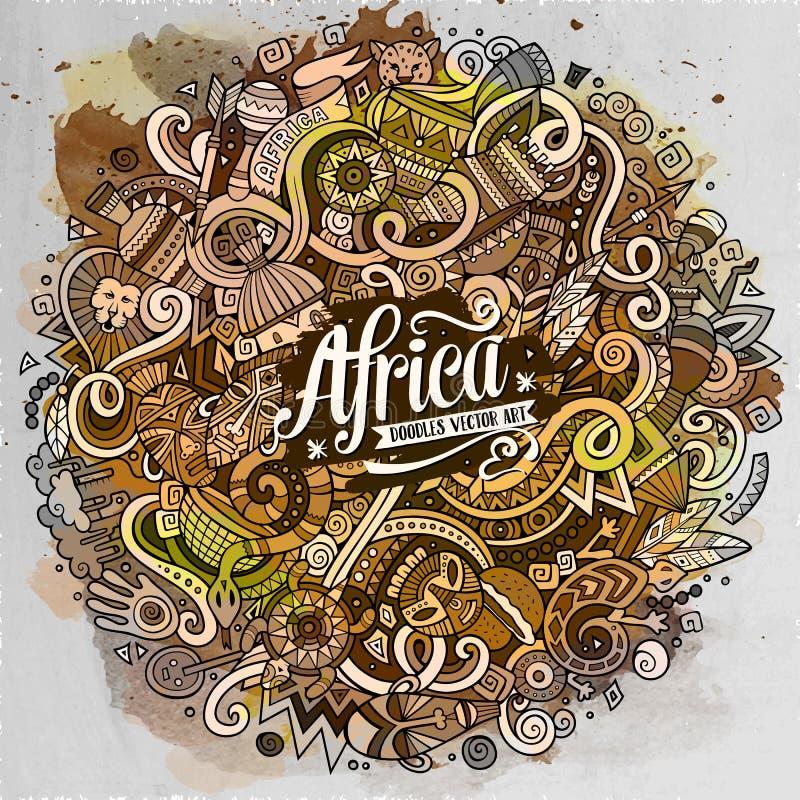Kreskówek doodles Afryka śliczna ilustracja ilustracji