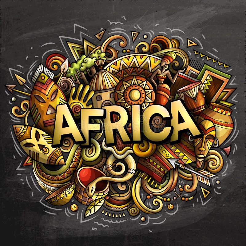 Kreskówek doodles Afryka śliczny słowo royalty ilustracja