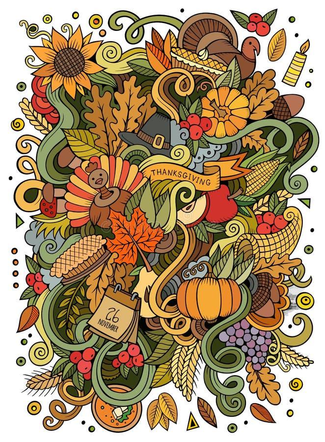 Kreskówek doodles dziękczynienia śliczna ręka rysująca ilustracja ilustracja wektor