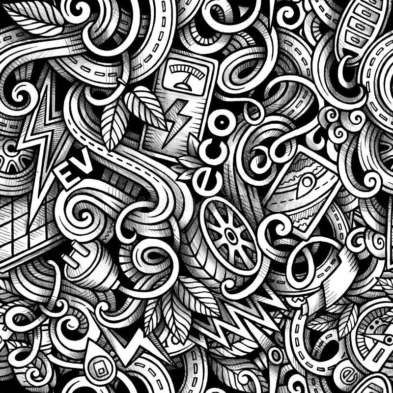 Kreskówek doodles Elektryczni samochody przyprawiają bezszwowego wzór ilustracja wektor
