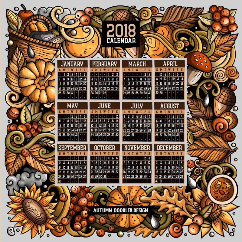 Kreskówek doodles jesień 2018 rok kalendarza szablon Angielszczyzny, Niedziela początek ilustracji