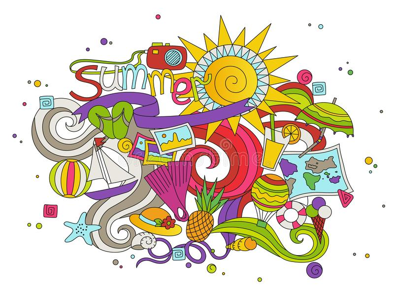 Kreskówek doodles lody pociągany ręcznie ilustracja Kreskowa sztuka wyszczególniająca, z udziałami przedmiota projekta wektorowy  royalty ilustracja