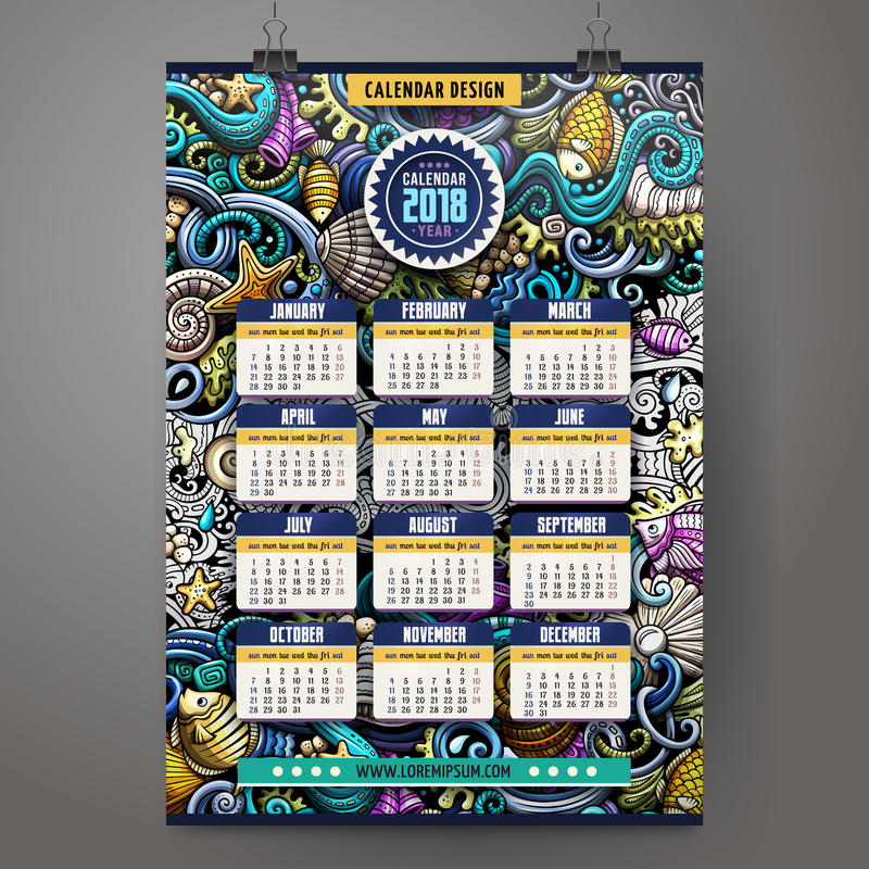 Kreskówek doodles Podwodny życie 2018 rok kalendarza szablon ilustracji