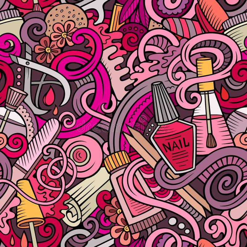 Kreskówek doodles Robią manikiur bezszwowego wzór ilustracji