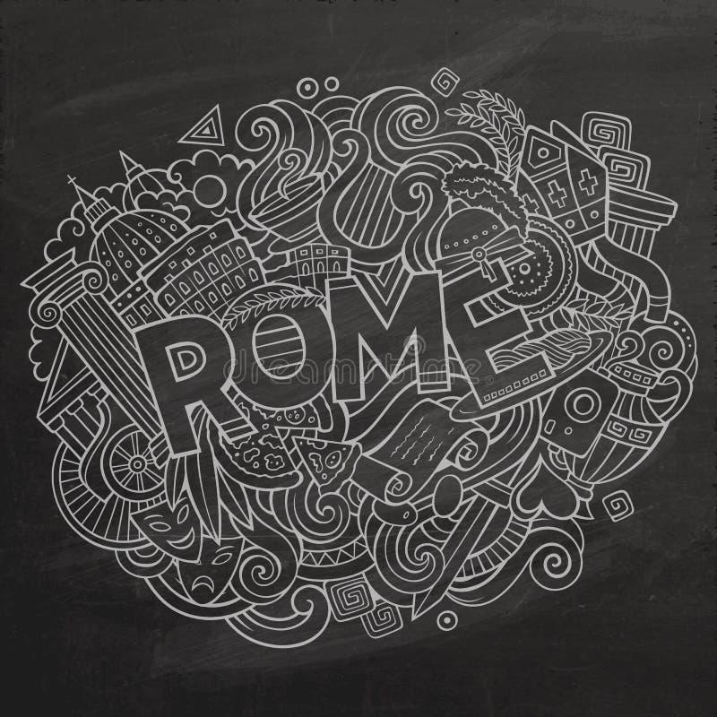 Kreskówek doodles Rzym śliczna ręka rysująca inskrypcja royalty ilustracja