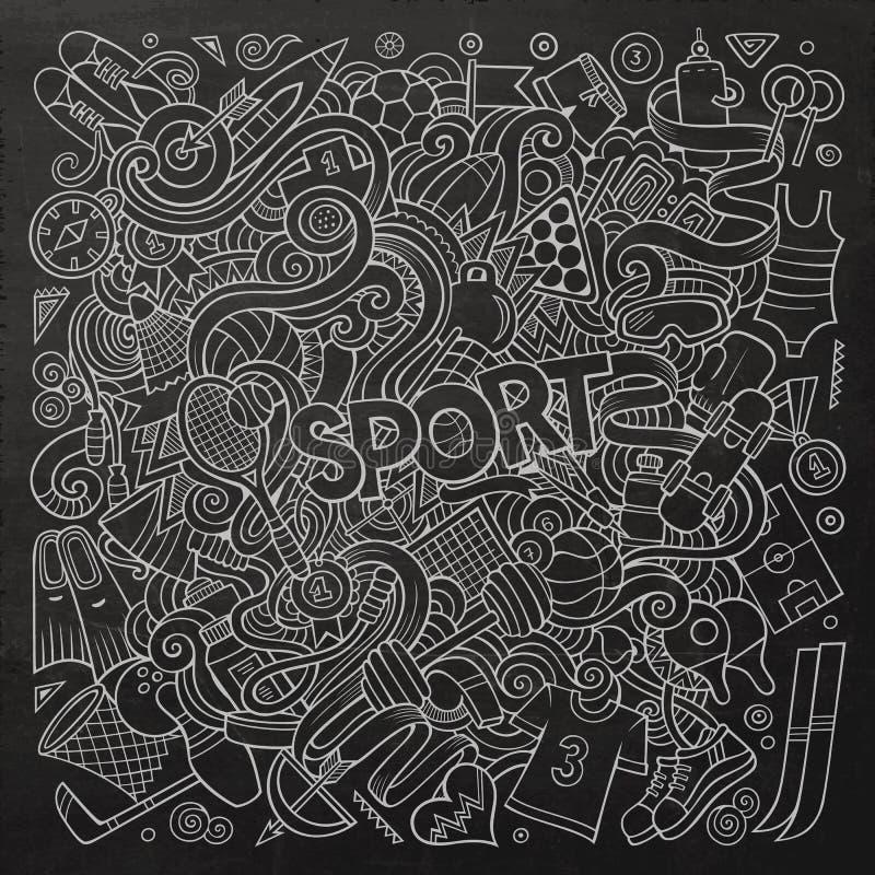 Kreskówek doodles sporta śliczna ręka rysująca ilustracja ilustracja wektor