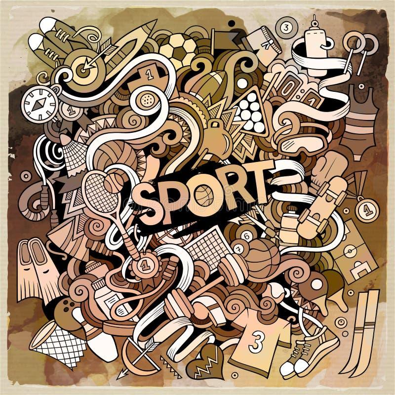 Kreskówek doodles sporta śliczna ręka rysująca ilustracja royalty ilustracja