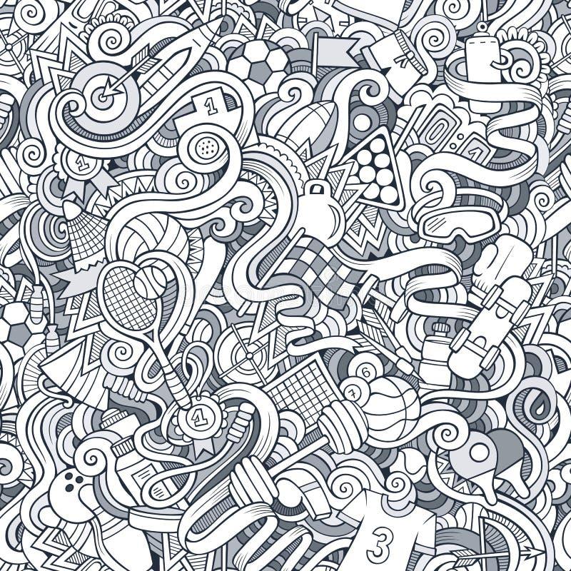 Kreskówek doodles sporta śliczna ręka rysujący bezszwowy wzór royalty ilustracja