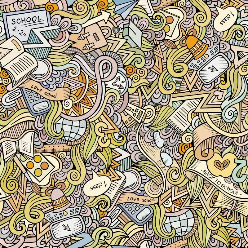 Kreskówek doodles wektorowej szkoły bezszwowy wzór ilustracja wektor