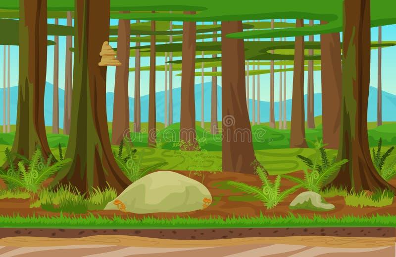 Kreskówek drewien klasyczny lasowy krajobraz z drzewami, trawą i kamieniami, Gór wzgórza na tle Krajobraz dla ilustracji