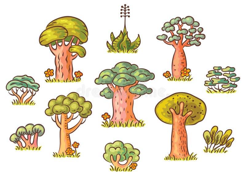 Kreskówek drzewa Ustawiający royalty ilustracja