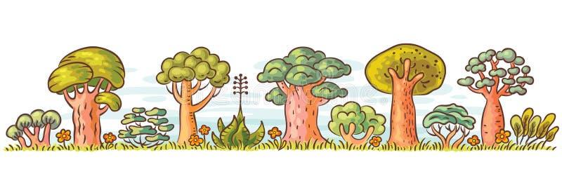 Kreskówek drzewa z rzędu ilustracja wektor
