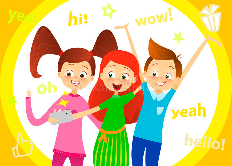 Kreskówek dzieci charakter Dzieciaki uśmiechy, robią selfie Szczęśliwe dziewczyny i chłopiec cieszą się brać selfie z fotografii  royalty ilustracja