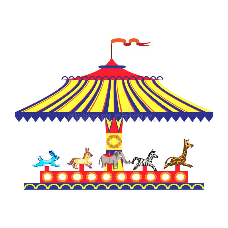 Kreskówek dzieci ` s zabawy kolorowy carousel z koniami Dzieci bawić się tradycyjnego carousel odizolowywają na bielu ilustracja wektor