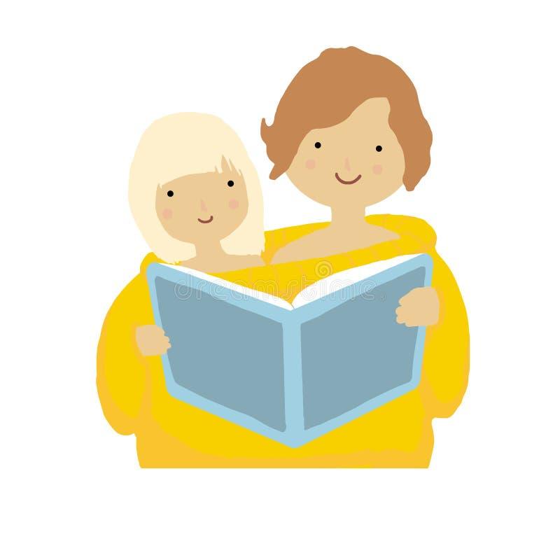 Kreskówek dzieci z książką żartuje loga Śliczni dzieci zakrywający w pulowerze ilustracja wektor