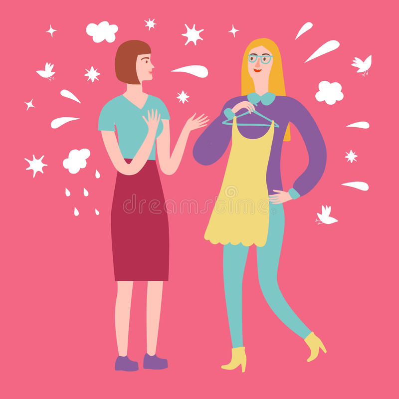 Kreskówek dziewczyn przyjaciele na zakupy royalty ilustracja