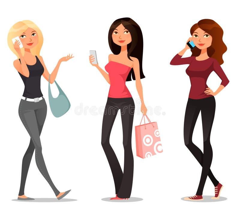Kreskówek dziewczyny z telefonami komórkowymi royalty ilustracja