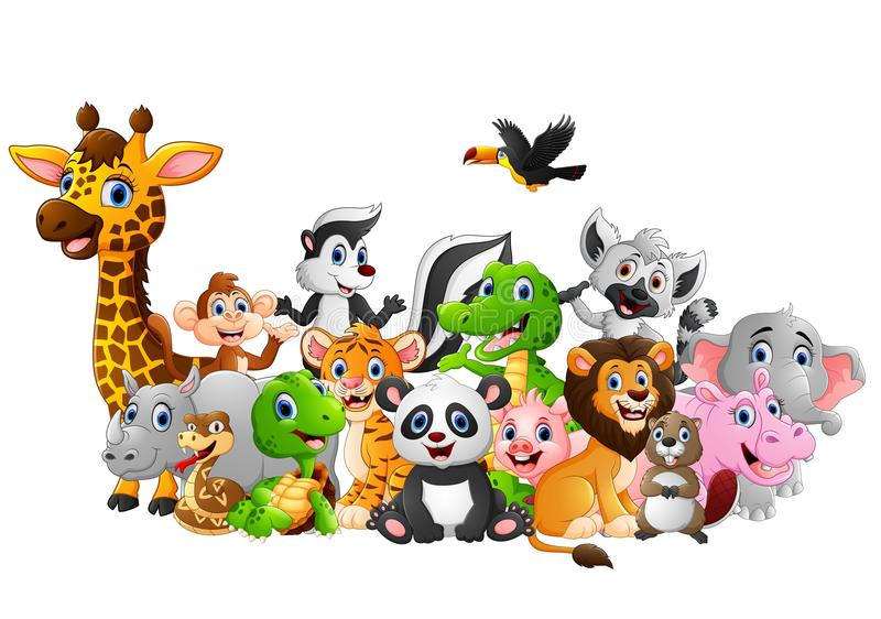 Kreskówek dzikich zwierząt tło zdjęcie royalty free