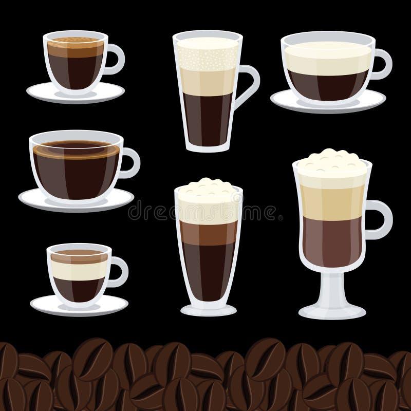 Kreskówek filiżanki ustawiać kawowa wektorowa kolekcja ilustracji