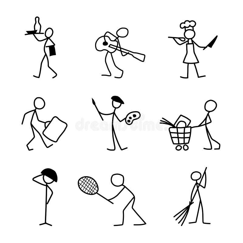 Kreskówek ikony ustawiać różni zawody kreślą ludzi royalty ilustracja